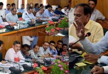 Advisor Vijay Kumar chairing a meeting on Tuesday.