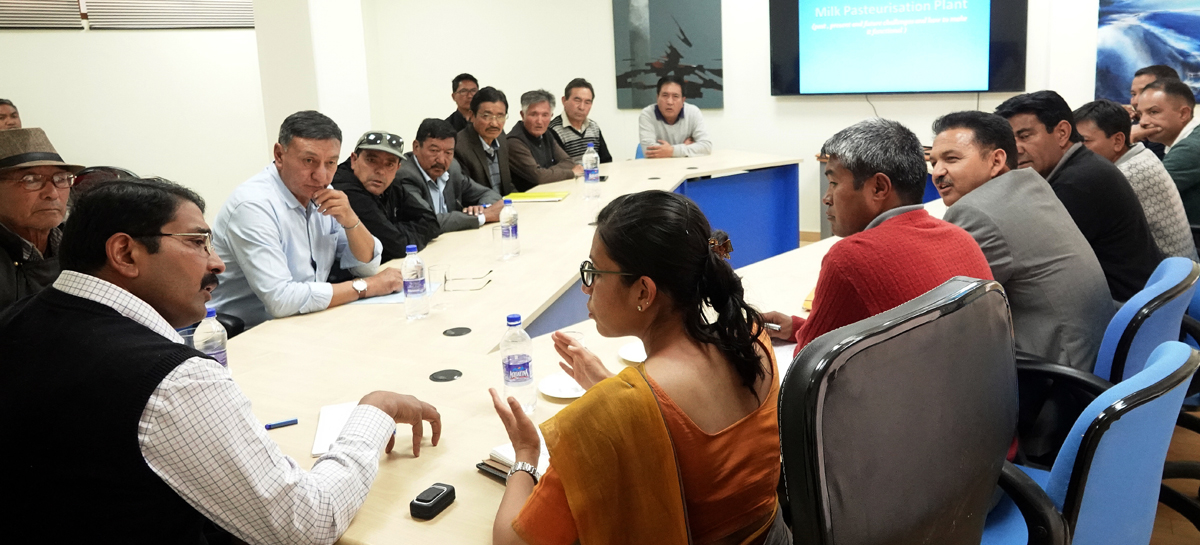 Divisional Commissioner, Ladakh Saugat Biswas chairing a meeting at Leh on Thursday.