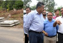 Deputy Commissioner Jammu Ramesh Kumar inspecting work on Akhnoor road flyover on Tuesday.