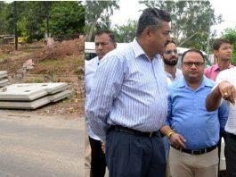 Deputy Commissioner Jammu Ramesh Kumar inspecting work on Akhnoor road flyover on Tuesday.