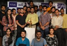 Actors posing along with Natrang Director Padamshree Balwant Thakur and other dignitaries during workshop at Natrang Studio in Jammu.