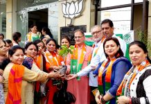 Former Deputy Chief Minister, Kavinder Gupta during a BJP Mahila Morcha meeting at party office Trikuta Nagar on Tuesday.