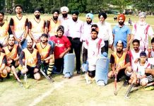 Singhpora Club and Srinagar Academy pose with special guest before start of the match.