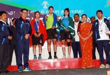 Sportspersons and dignitaries posing along with Union Minister of State (independent charge) Youth Affairs and Sports, Kiren Rijiju in Leh.