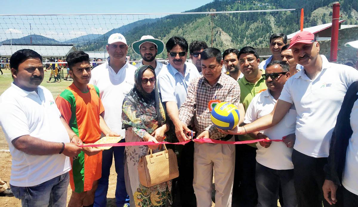 ADC Doda Dr Ravi Kumar Bharti and other dignitaries inaugurating U-19 Boys tournament at Bhaderwah on Tuesday.