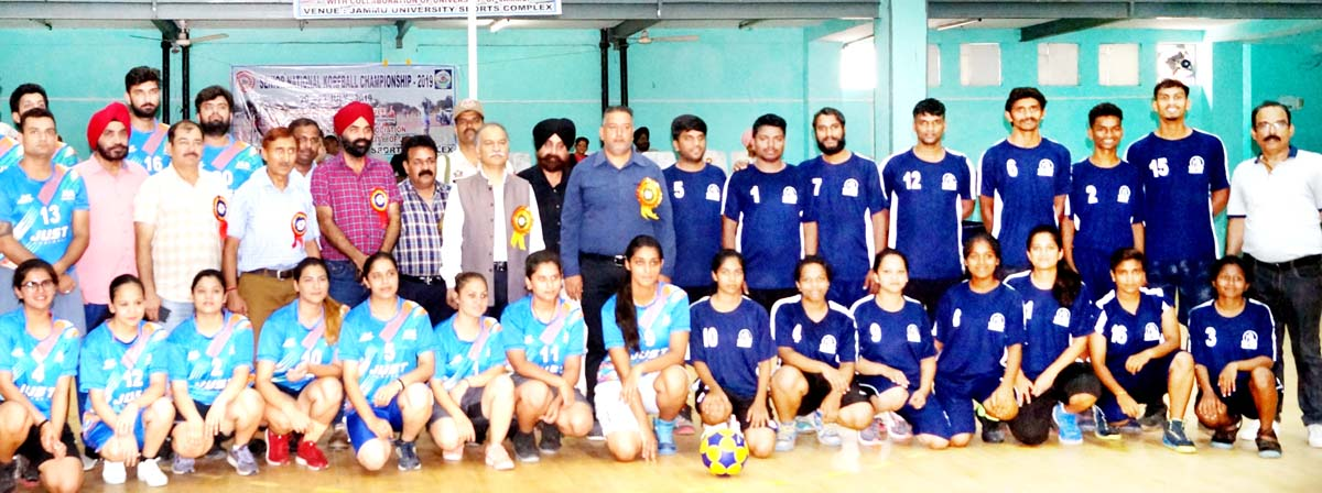 Teams playing in the opening match along with officials posing with Vice Chancellor, JU, Prof Manoj Dhar at Jammu on Saturday.