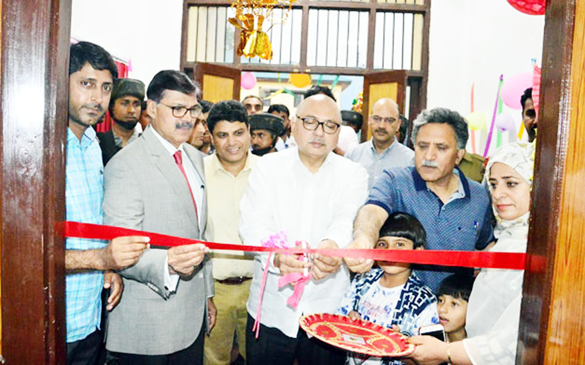 Advisors to Governors jointly inaugurating Gym at Gindun Sports Complex Rajbagh in Srinagar on Tuesday.