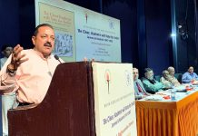 Union Minister Dr Jitendra Singh delivering  keynote address after releasing a book on Kashmir at Nehru Memorial Centre, New Delhi.
