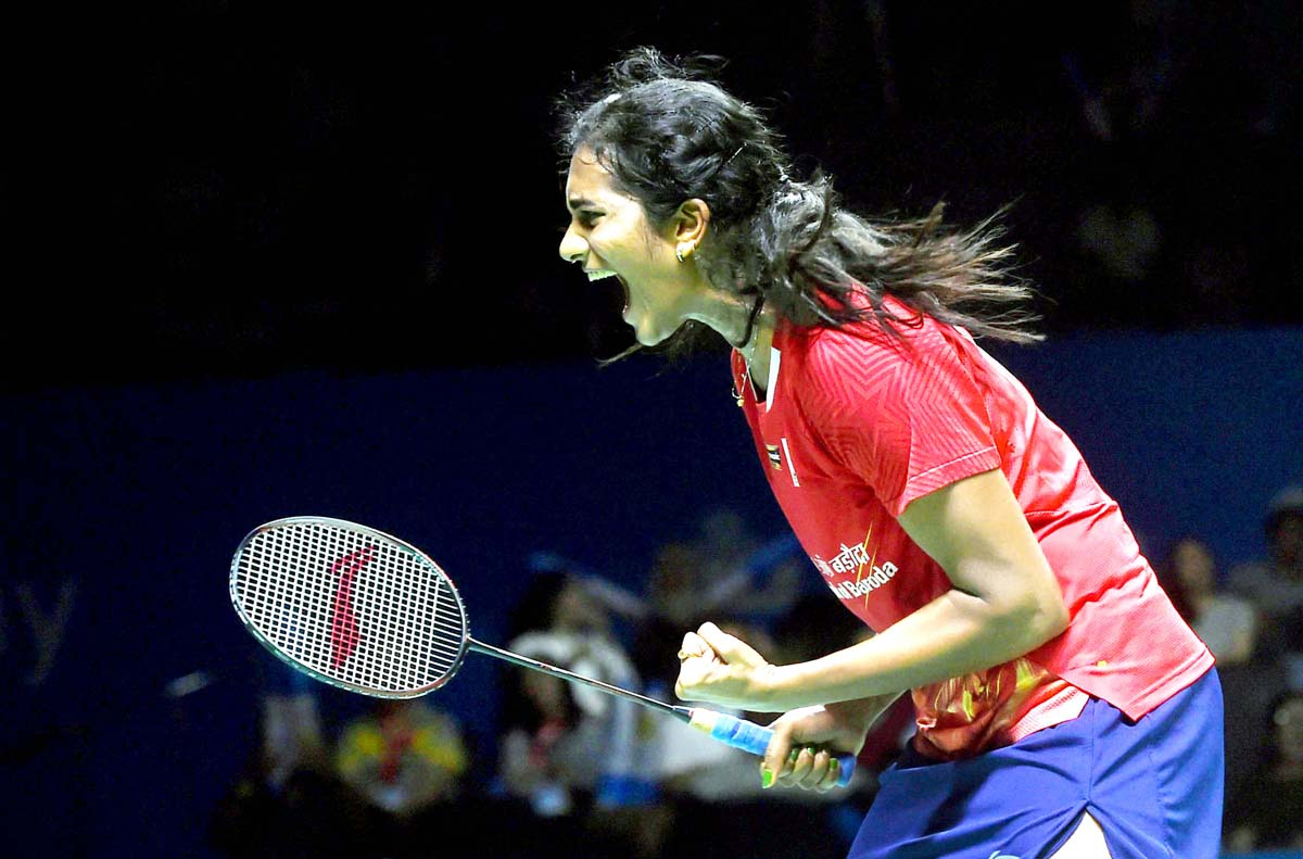 P V Sindhu in action during semifinals of Indonesia Open at Jakarta on Saturday. (UNI)