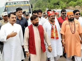 Ex-Minister and chairperson DSS Ch Lal Singh and ex-MLA R S Pathania after receiving Pingla Mata Yatra at village in Kathua on Tuesday.