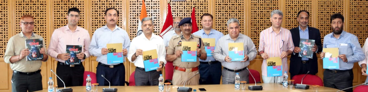 DGP Dilbagh Singh along with other police officers releasing crime gazette at Srinagar on Tuesday.