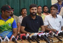 International Cricketers Parvez Rasool addressing media persons in Srinagar on Tuesday. — Excelsior/Shakeel