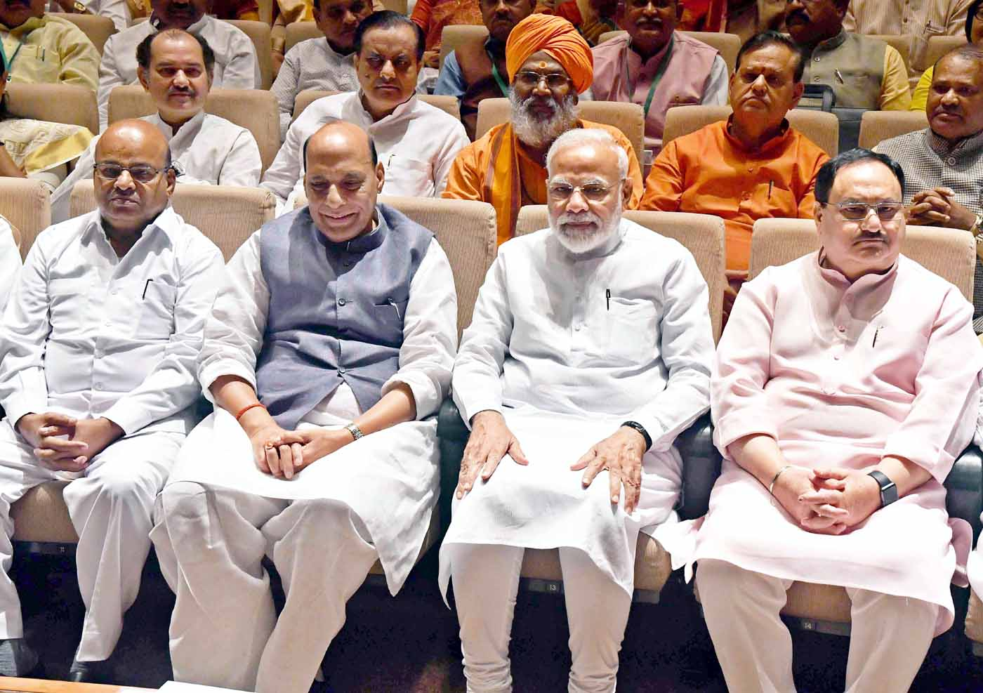 Prime Minister Narendra Modi, Defence Minister Rajnath Singh, BJP Working President JP Nadda and other leaders attending the BJP Parliamentary Party Meeting at the Balayogi Auditorium at Parliament house in New Delhi on Tuesday. (UNI)