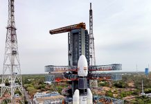 A view of GSLV Mk-III carrying Chandrayaan-2 payloads Scheduled to be launched from Satish Dhawan Space Centre on 15th July at second launch pad, in Sriharikota on Sunday. (UNI)