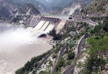 Panoramic view of waterfall in Salal dam at Reasi. -Excelsior/Karandeep