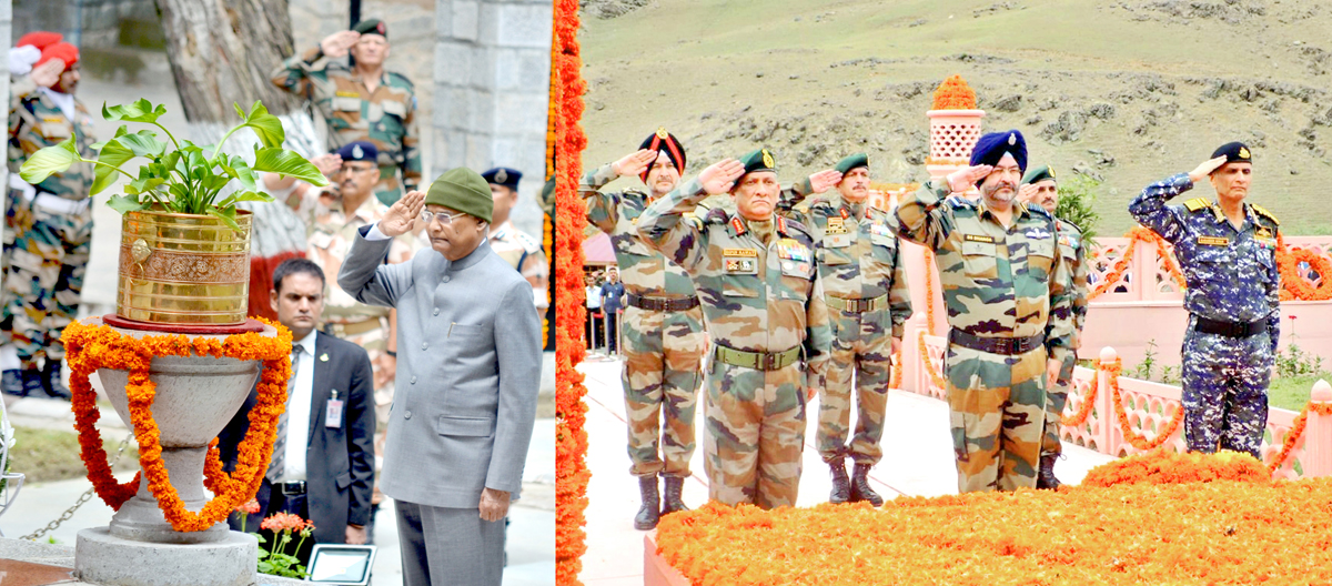 President Ram Nath Kovind (left) and 3 Service chiefs (right) paying tributes to Kargil martyrs at Srinagar and Drass respectively on Friday. -Excelsior pics by Shakeel & Basharat Ladakhi