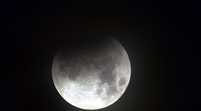 A view of the Moon during partial Lunar eclipse in Patna on Tuesday night. (UNI)