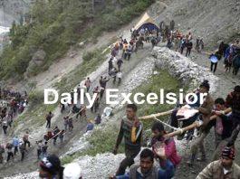 Amarnath yatris heading towards holy cave. -Excelsior/Sajjad Dar