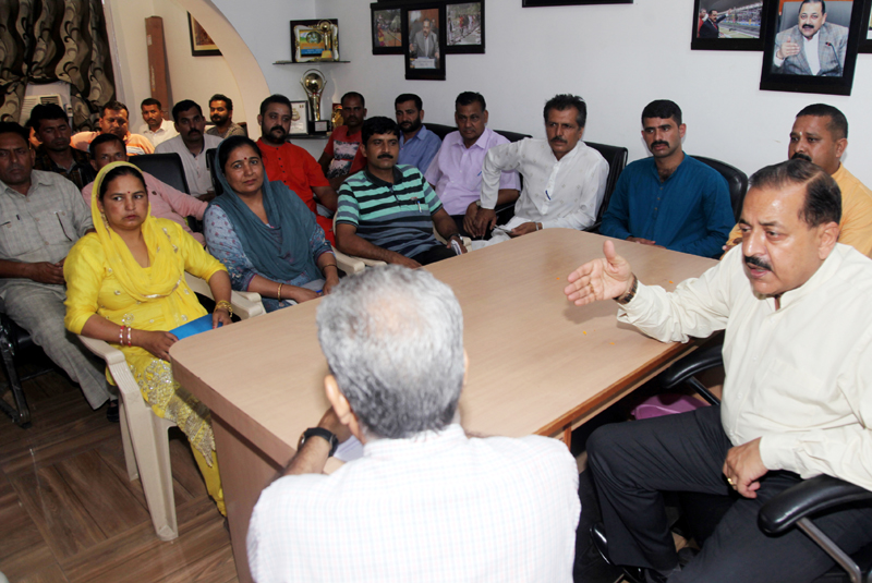 Union Minister Dr Jitendra Singh addressing a meeting of Sarpanches at Jammu on Sunday. -Excelsior/Rakesh