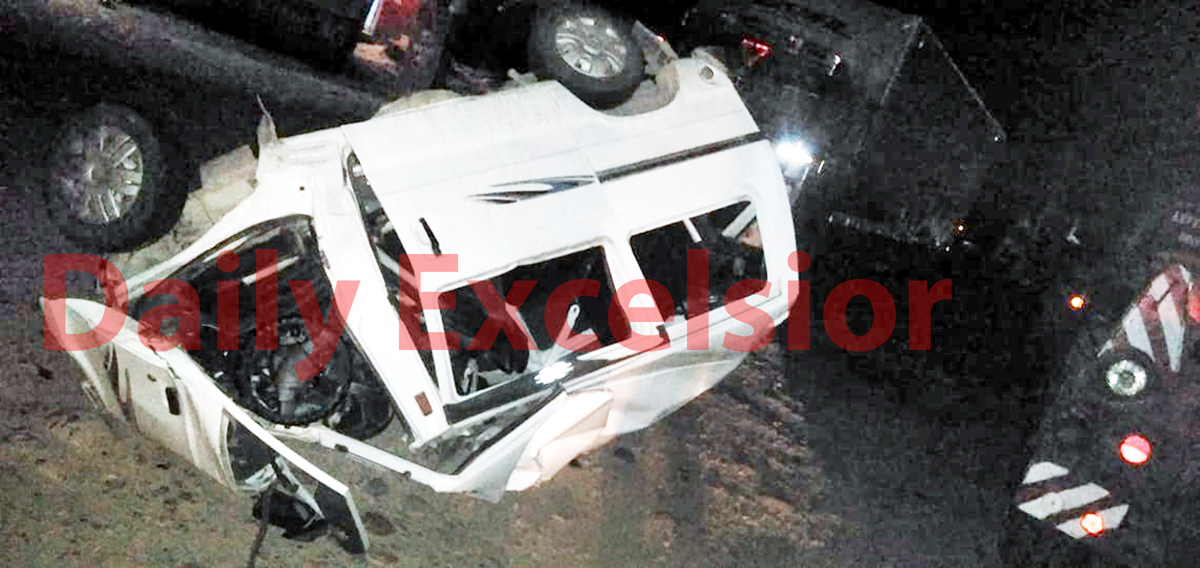 A badly damaged van which met with an accident at Samba on Tuesday.