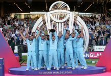 England Captain Eoin Morgan and teammates celebrating the World Cup victory.