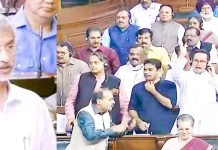 External Affairs Minister S Jaishankar makes a statement (left) and Opposition MPs protest (right) in Lok Sabha on Tuesday.