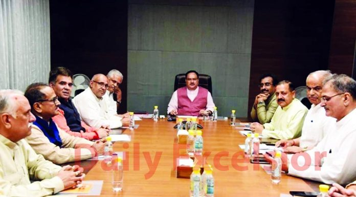 BJP national working president JP Nadda presiding over J&K unit's Core Group meeting in New Delhi on Tuesday.