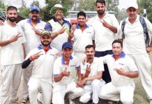 Jubilant Media XI players posing for a group photograph after scripting win over GCC on Sunday.