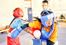 Boxers in action during Day-2 of Ladakh School Olympics in Leh on Thursday.