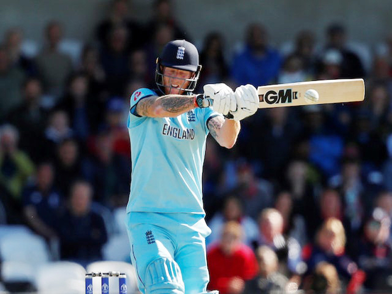 England's Ben Stokces executing a shot during his knock of unbeaten 84 runs against New Zealand in World cup final at Lords in London.