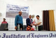 Chief guest, Sanjeev Gupta (STA) being felicitated at a seminar organised by Institution of Engineers in Jammu.