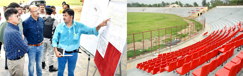 Advisor to Governor K. Vijay Kumar and other dignitaries inspecting developmental works at MA Stadium in Jammu.