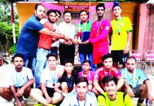 Players of Christian United Club posing for a group photograph after registering win in Football.