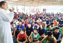 NPP president, Balwant Singh Mankotia addressing youth during 8th Marathon Run in Udhampur.