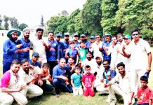 Victorious JU team posing for a group photograph after scripting victory over JK Press Club XI.