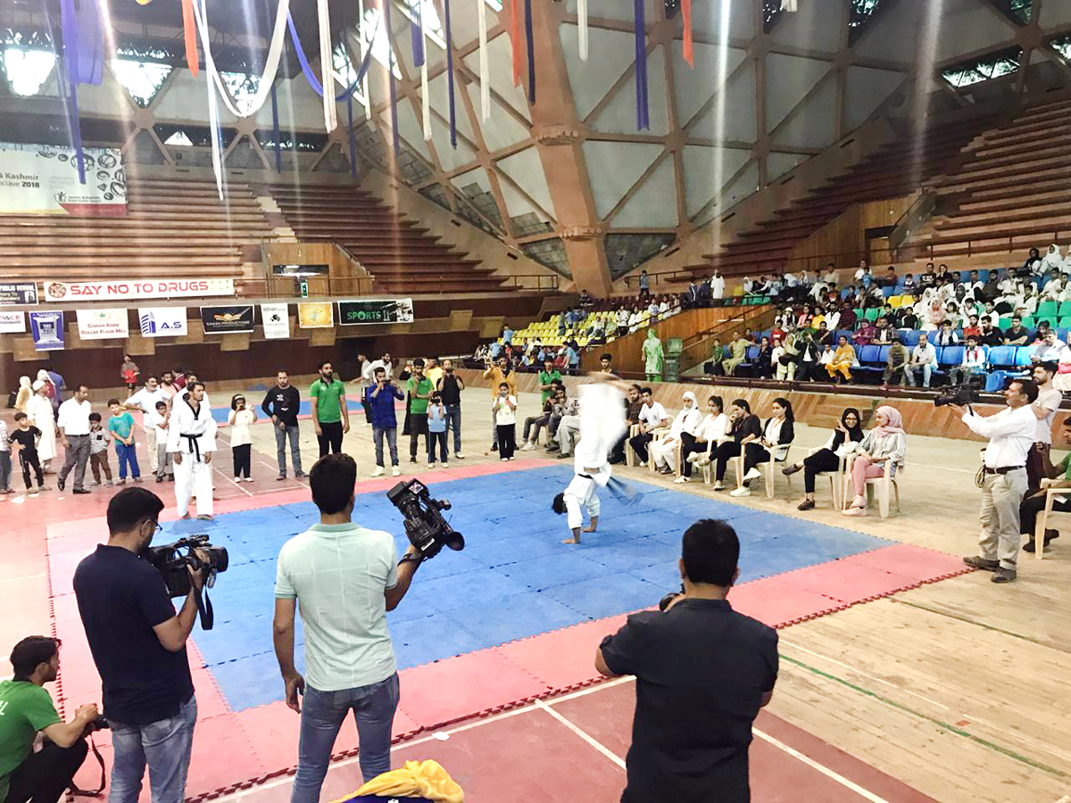 Players in action during Jeet Kune Do Championship in Srinagar.
