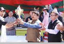 Winners receiving trophy during Ladakh Polo Festival in Leh.