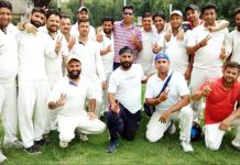JU Employees Cricket team posing for a group photograph after scripting victory on Sunday.