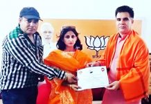 BJP State President Ravinder Raina honour Taekwondo players in Jammu on Sunday.