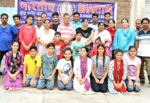 Artists of BLSKS posing for a photograph after performance at Jammu.
