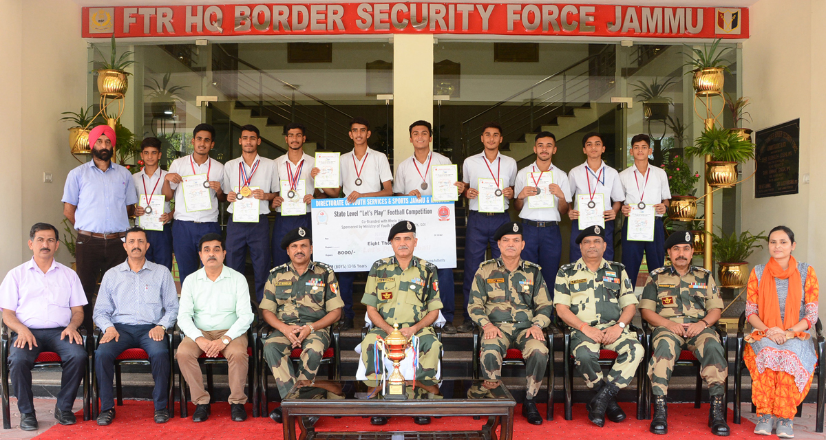 IG BSF Jammu Frontier, N S Jamwal and other dignitaries present during the felicitation of sports teams of BSF School at Jammu on Friday.