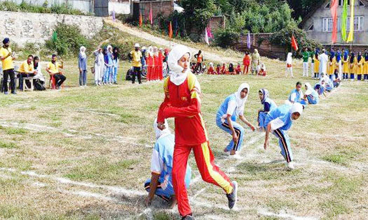 Kho-Kho players in action on day-1 of Provincial Level inter-District competition at Budgam.
