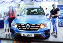 Dr Kunwar Gunit, Mr India-2017 launching Renault's all new Duster at Jammu on Monday.