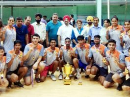Haryana receiving National Korfball trophy at Gymnasium Hall of JU in Jammu on Tuesday.