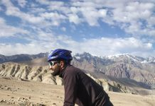 Adil Teli during his ride from Srinagar to Leh.
