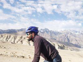 Adil Teli during his ride from Srinagar to Leh.