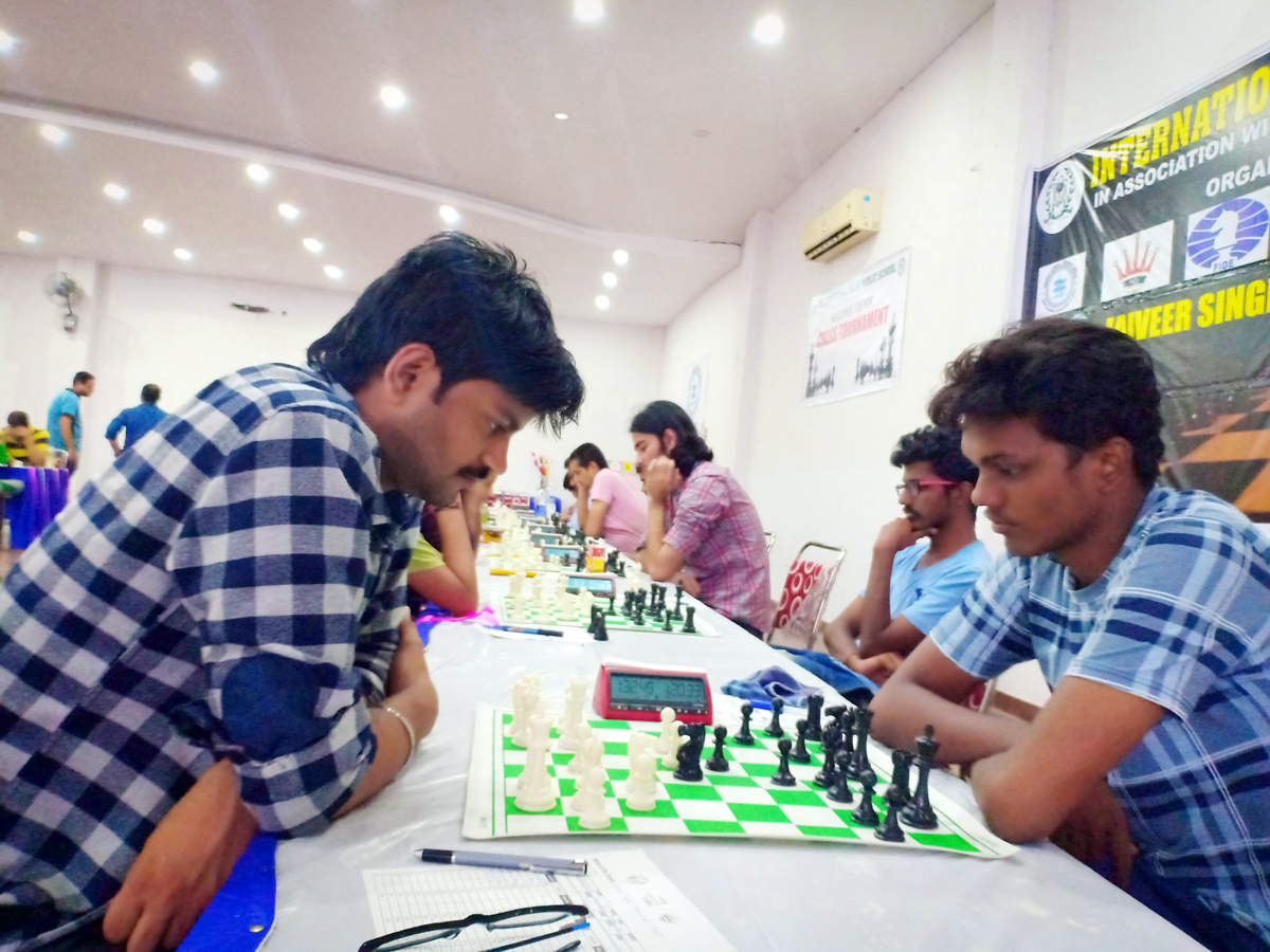 Players in action during a match of Jaiveer Singh FIDE Ratings Chess Tournament.