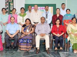Dignitaries during first official meeting of Hub of Learning at Heritage School in Jammu.