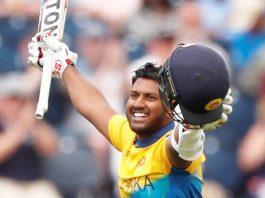Sri Lanka's Avishka Fernando celebrating century against West Indies at on Monday.