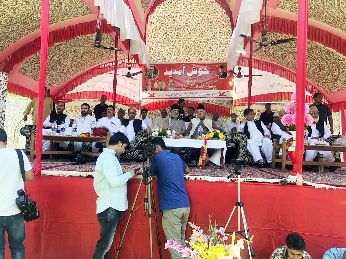 NC president, Dr Farooq Abdullah along with party leaders at a convention in Handwara on Saturday.